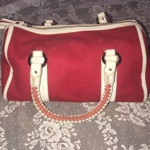 Banana Republic red canvas white leather Handbag
